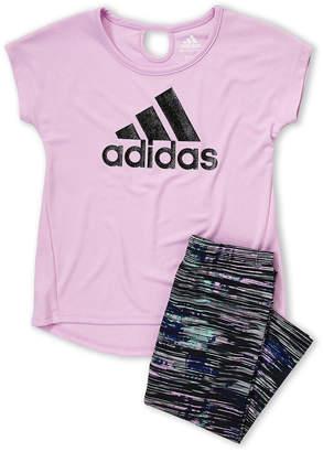 adidas Girls 4-6x) Two-Piece Glitter Tee & Stripe Leggings Set