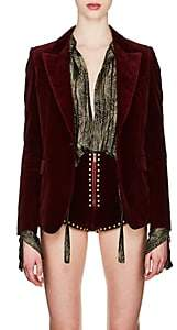 Saint Laurent Women's Velvet Long One-Button Blazer - Wine