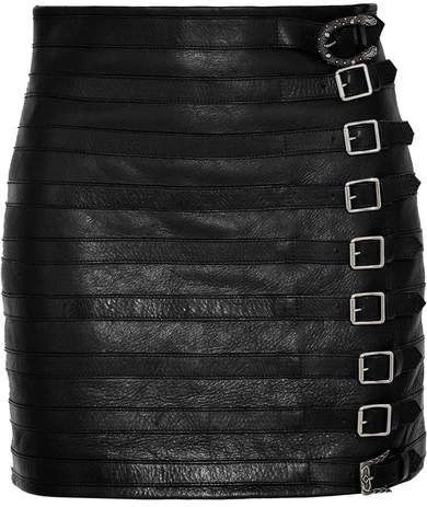 Gucci - Buckle-embellished Textured-leather Mini Skirt - Black