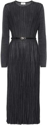 Salvatore Ferragamo Pleated wool-blend midi dress