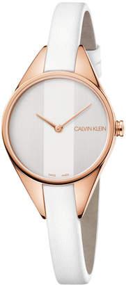 Calvin Klein Swiss Rebel White Leather Strap Watch 29mm