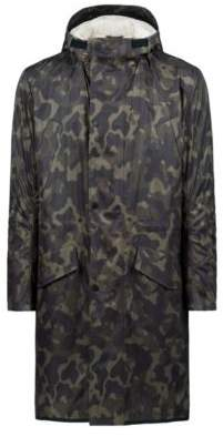HUGO Boss Camouflage-print coat detachable faux-shearling lining 40R Dark Green