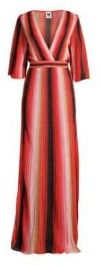 M Missoni Women's Textured Stripes Plunging Maxi Dress - Pink Red Gold - Size 36 (0)