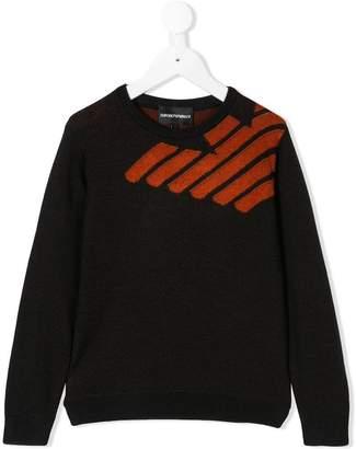 Emporio Armani Kids logo knit sweater