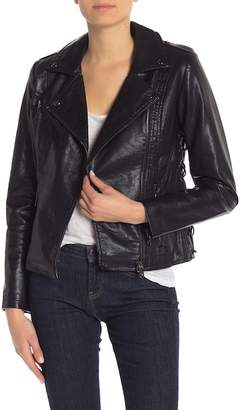 Steve Madden Faux Leather Lace-Up Moto Jacket