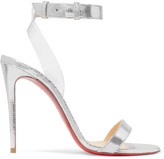 Christian Louboutin Jonatina 100 Pvc-trimmed Metallic Lizard-effect Leather Sandals - Silver