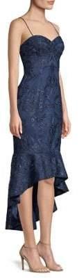 Aidan Mattox Beaded High-Low Flounce Dress