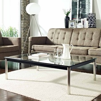 Modway LC10 Coffee Table with Stainless Steel Legs in White