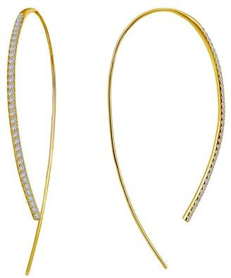 Lafonn 18K Gold Plated Sterling Silver Simulated Diamond Twisted Open 50mm Hoop Earrings