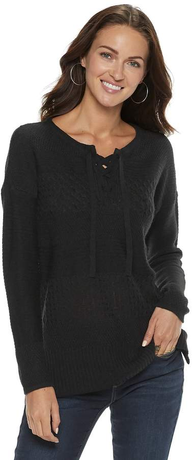 Sonoma Goods For Life Women's SONOMA Goods for Life Cable Knit Lace-Up Sweater