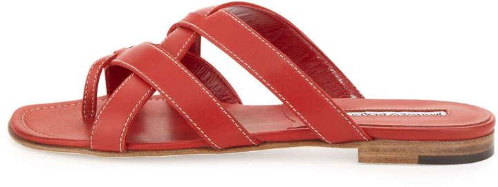 Manolo Blahnik Lascia Woven Leather Thong Sandal, Red