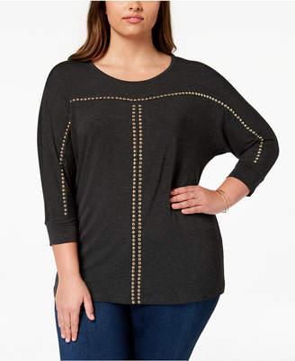 Belldini Plus Size Dolman-Sleeve Studded Top