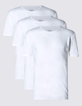 Marks and Spencer 3 Pack Pure Cotton Crew Neck Vests