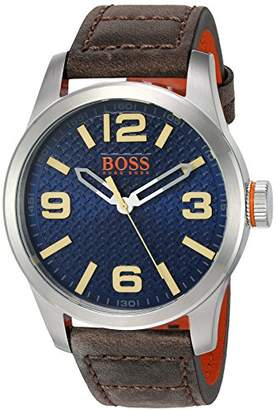 HUGO BOSS Orange Men's 'PARIS' Quartz Stainless Steel and Beige Leather Casual Watch (Model: 1513352)