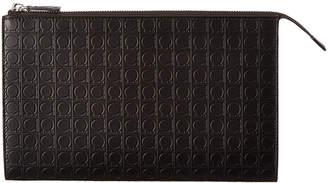 Salvatore Ferragamo Gancio Embossed Leather Pouch
