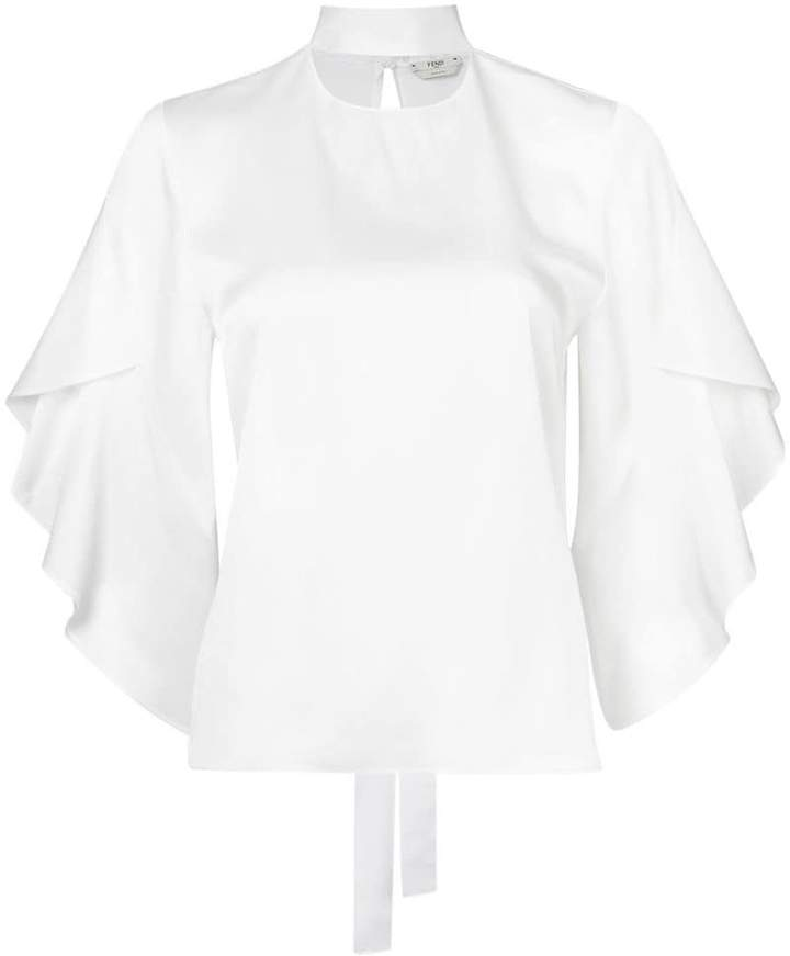 Fendi frill sleeve blouse with neck tie detail