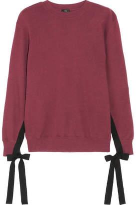 Clu Grosgrain Bow-embellished Cotton-jersey Sweatshirt - Burgundy
