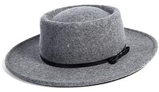 Church's Jeff & Aimy 100% Wool Felt Pork Pie Hat Women Winter Fedora Party Derby Hats with Brim Top Stylish Grey