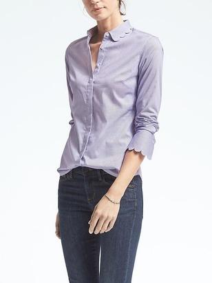 Riley-Fit Stripe Scallop Shirt $68 thestylecure.com