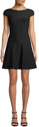 Herve Leger Cap-Sleeve Jacquard Flair-Skirt Dress