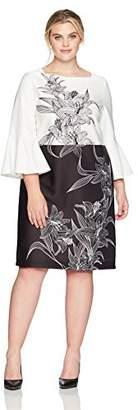 Gabby Skye Women's Plus Size Bell Sleeve Round Neck Midi Scuba Sheath Dress