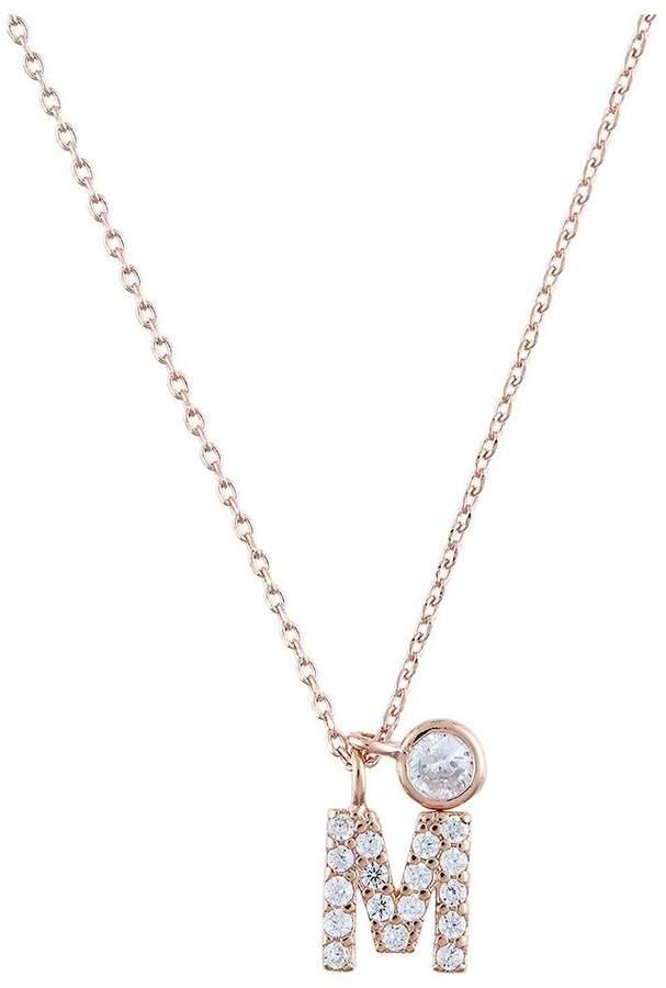 Rose Gold Diamante Inital Pendant M