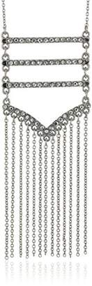 Rebecca Minkoff Pave Silver Fringe Pendant Necklace