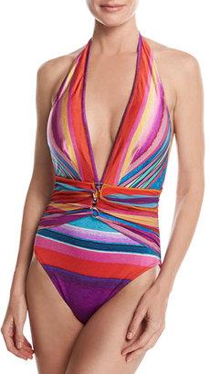 Gottex Mai Tai Deep Plunge Halter One-Piece Swimsuit, Pink Multicolor $188 thestylecure.com
