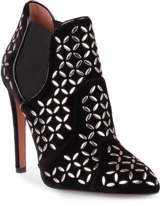 Alaia Black velvet studded chelsea boot
