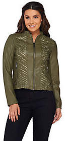 G.I.L.I. got it love it G.I.L.I. Die Cut Faux Leather Jacket with Ponte