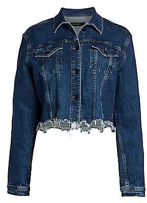 J Brand Women's Cyra Distressed Cropped Denim Jacket