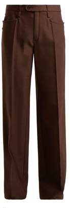 Chloé Mid Rise Wide Leg Wool Blend Trousers - Womens - Dark Brown