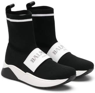 Balmain Kids TEEN logo strap sock sneakers