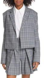 Tibi James Menswear Check Crop Suit Jacket