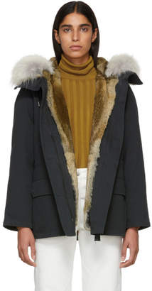 Yves Salomon Army Black Classic Short Fur-Lined Parka