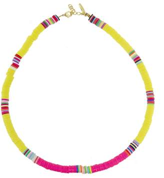 ALLTHEMUST Yellow and Hot Pink Heishi Bead Necklace - Yellow Gold