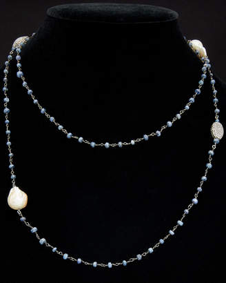 Meira T Silver Blue Sapphire & Pearl Necklace