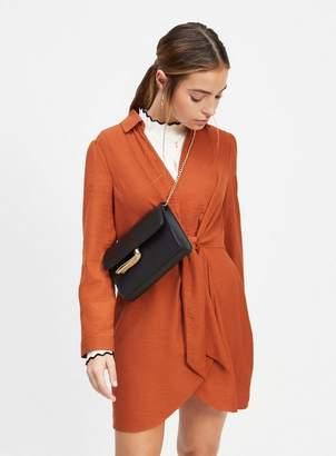 Miss Selfridge Petite rust twist tunic dress