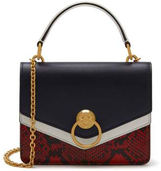 Mulberry Small Harlow Satchel Midnight, White and Coral Red Silky Calf and Ayers