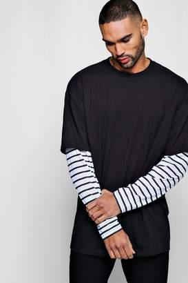 boohoo Oversized Faux Layer Long Sleeve T-Shirt