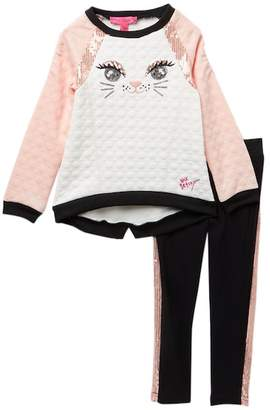 Betsey Johnson Kitten Sequin Top & Leggings Set (Toddler Girls)