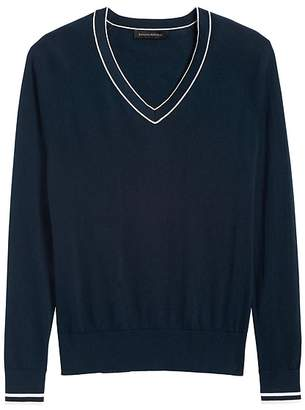 Banana Republic Silk Cotton V-Neck Sweater