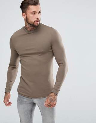 Asos Longline Muscle Sweatshirt With Curved Hem And Insert