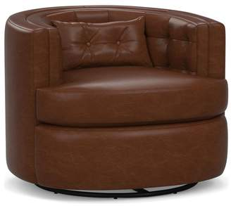 Pottery Barn Reed Leather Swivel Armchair