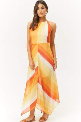 Forever 21 Sheer Multicolor Striped Handkerchief-Hem Maxi Dress