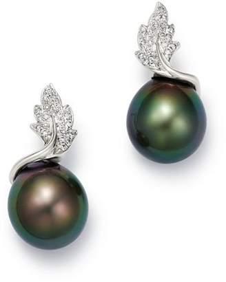 Tara Pearls 14K White Gold Leaf Diamond & Tahitian Cultured Pearl Drop Earrings