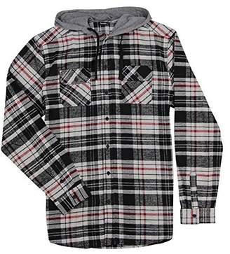 Burnside Men's Hooded Long Sleeve Flannel Shirt