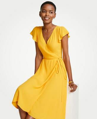 Ann Taylor Petite Marigold Ruffle Wrap Dress