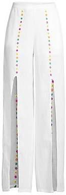 All Things Mochi Women's Gaho Flower Slit Linen Pants