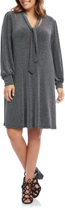 Karen Kane Taylor Tie Neck Sparkle Long Sleeve Dress